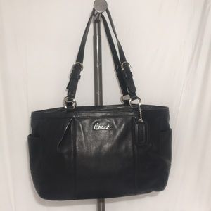 Coach Gallery Easy West Black Leather Tote F17721